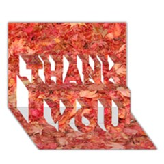 Red Maple Leaves Thank You 3d Greeting Card (7x5)