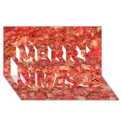 RED MAPLE LEAVES Merry Xmas 3D Greeting Card (8x4)