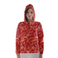 Red Maple Leaves Hooded Wind Breaker (women)