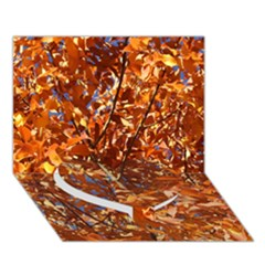 ORANGE LEAVES Heart Bottom 3D Greeting Card (7x5)