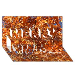 Orange Leaves Merry Xmas 3d Greeting Card (8x4)
