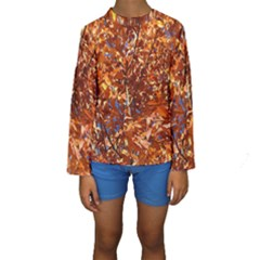 Orange Leaves Kid s Long Sleeve Swimwear
