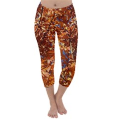 Orange Leaves Capri Winter Leggings
