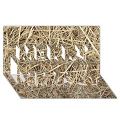 Light Colored Straw Merry Xmas 3d Greeting Card (8x4)