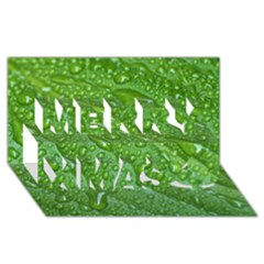 Green Leaf Drops Merry Xmas 3d Greeting Card (8x4)