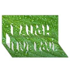 Green Leaf Drops Laugh Live Love 3d Greeting Card (8x4)