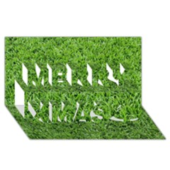 Green Grass 2 Merry Xmas 3d Greeting Card (8x4)