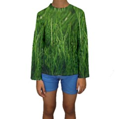 GREEN GRASS 1 Kid s Long Sleeve Swimwear