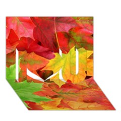 Autumn Leaves 1 I Love You 3d Greeting Card (7x5)