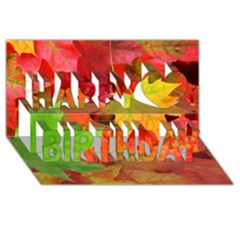 Autumn Leaves 1 Happy Birthday 3d Greeting Card (8x4)