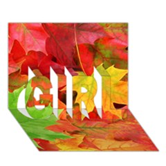 Autumn Leaves 1 Girl 3d Greeting Card (7x5)