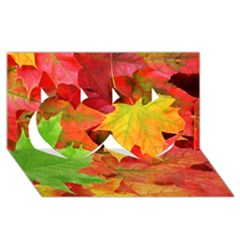 AUTUMN LEAVES 1 Twin Hearts 3D Greeting Card (8x4)