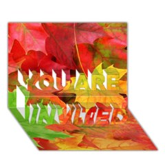AUTUMN LEAVES 1 YOU ARE INVITED 3D Greeting Card (7x5)