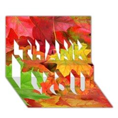 AUTUMN LEAVES 1 THANK YOU 3D Greeting Card (7x5)
