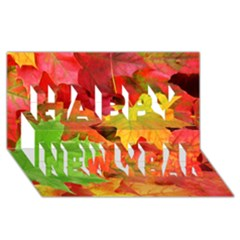 AUTUMN LEAVES 1 Happy New Year 3D Greeting Card (8x4)