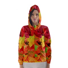 AUTUMN LEAVES 1 Hooded Wind Breaker (Women)
