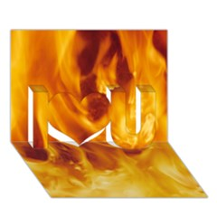 Yellow Flames I Love You 3d Greeting Card (7x5)