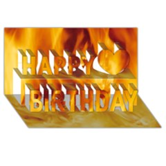 Yellow Flames Happy Birthday 3d Greeting Card (8x4)