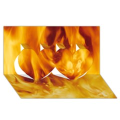 Yellow Flames Twin Hearts 3d Greeting Card (8x4)