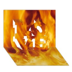 YELLOW FLAMES LOVE 3D Greeting Card (7x5)