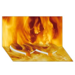 YELLOW FLAMES Twin Heart Bottom 3D Greeting Card (8x4)