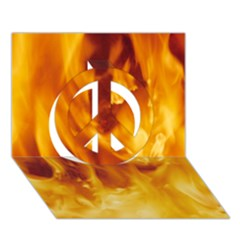Yellow Flames Peace Sign 3d Greeting Card (7x5)