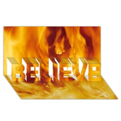 YELLOW FLAMES BELIEVE 3D Greeting Card (8x4)