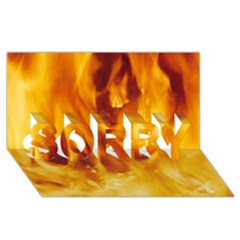YELLOW FLAMES SORRY 3D Greeting Card (8x4)