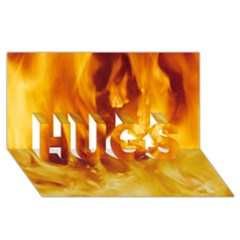 Yellow Flames Hugs 3d Greeting Card (8x4)