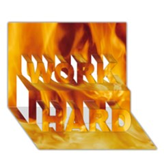 Yellow Flames Work Hard 3d Greeting Card (7x5)