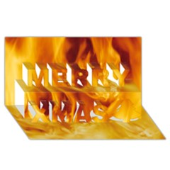 YELLOW FLAMES Merry Xmas 3D Greeting Card (8x4)