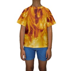 YELLOW FLAMES Kid s Short Sleeve Swimwear