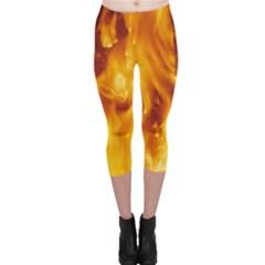 Yellow Flames Capri Leggings