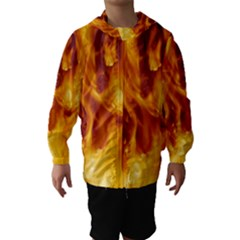 YELLOW FLAMES Hooded Wind Breaker (Kids)