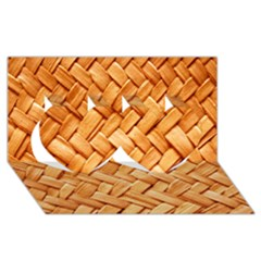 Woven Straw Twin Hearts 3d Greeting Card (8x4)