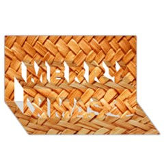 Woven Straw Merry Xmas 3d Greeting Card (8x4)