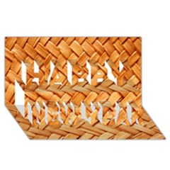 Woven Straw Happy New Year 3d Greeting Card (8x4)