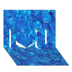 Turquoise Glass I Love You 3d Greeting Card (7x5)