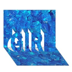 Turquoise Glass Girl 3d Greeting Card (7x5)