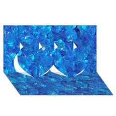 TURQUOISE GLASS Twin Hearts 3D Greeting Card (8x4)