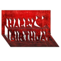 Shades Of Red Happy Birthday 3d Greeting Card (8x4)