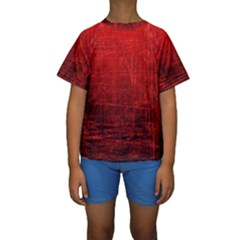 Shades Of Red Kid s Short Sleeve Swimwear
