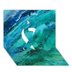 Shades Of Blue Ribbon 3d Greeting Card (7x5)