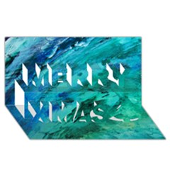 Shades Of Blue Merry Xmas 3d Greeting Card (8x4)