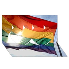 PRIDE FLAG Twin Hearts 3D Greeting Card (8x4)