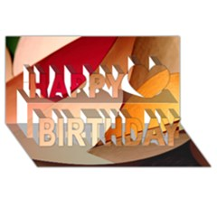 Pretty Abstract Art Happy Birthday 3d Greeting Card (8x4)
