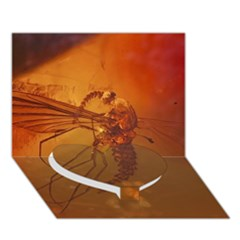 Mosquito In Amber Heart Bottom 3d Greeting Card (7x5)