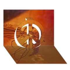 MOSQUITO IN AMBER Peace Sign 3D Greeting Card (7x5)
