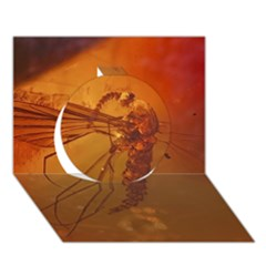 Mosquito In Amber Circle 3d Greeting Card (7x5)