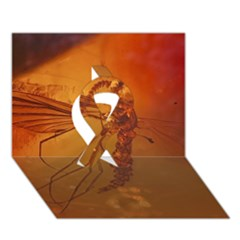 Mosquito In Amber Ribbon 3d Greeting Card (7x5)